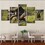 Pmhhc Dekor Wand Druck Bilder Kunst 5 Stücke Holzhaus Und Tier Schildkröte Vogel Naturlandschaft Poster Leinwand Malerei Modulare-30X40Cmx2 30X60Cmx2 30X80Cm