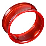 viva-adorno® Double Flared Flesh Tunnel Plug Tube Tunnel ohne Gewinde Kunststoff Acryl verschiedene Farben Größe 3 - 22mm UFT, Tunnel rot 8mm
