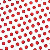 0,5m Stoff Punkte groß weiß / rot 100% Baumwolle