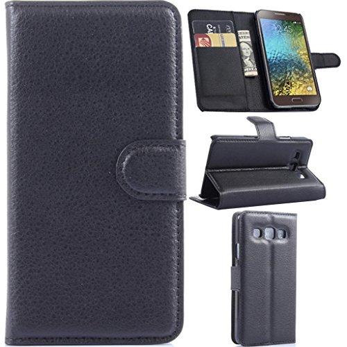 Gift_Source Galaxy E5 Hülle, Galaxy E5 Brieftaschen-Hülle, (Brieftaschenfunktion) Premium PU Leder Flip Cover Leder Hülle für Samsung Galaxy E5 / E500 Gesendeter Eingabestift, A-01-Black