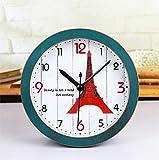 CWLLWC tischuhr standuhr,Kaminuhr Retro-Alten Paris Turm Holz kleine Uhr Mode kreativ Nachttisch Uhr Tabelle 12 * 12cm