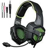 PS4 New Xbox one Headset with Mic Volume Control, SADES SA807 Stereo Gaming Headphone for PC Laptop Mac Tablet Smartphone by AFUNTA-Black/Green