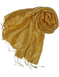 Kuldip Pashmina-Schal aus 100% Seide, in vielen verschiedenen Farben erhältlich, Gold - gold - Größe: One Size Fits All