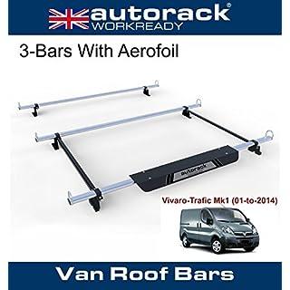 VAUXHALL VIVARO SWB & LWB Van Roof Rack Bars (2001-14 Mk1) - 3 BARS - Autorack WorkReady - With Aerofoil