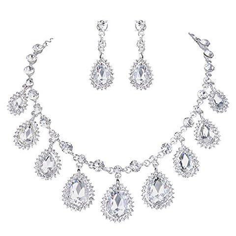 Clearine Damen Fashion Hochzeiit Braut Sonnenblume Tropfen Rund Kristall Halskette Dangle Ohrringe Schmuck Set Silber-Ton Klar