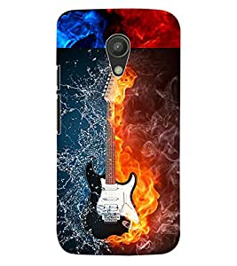 ColourCraft Water and Fire Guitar Design Back Case Cover for MOTOROLA MOTO G2
