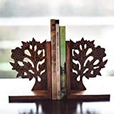 #1: ExclusiveLane Wooden Hand Carved & Engraved Tree of Life Book End in Sheesham Wood -Book Organizer Book Racks Shelf Table Top
