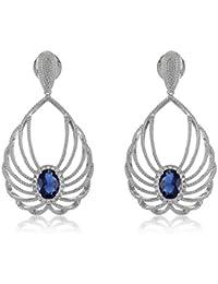 Shaze Blue Sapphire And Cubic Zircon Angel Wings Party Earrings For Women/Girls | Earrings For Girls Fancy Party...