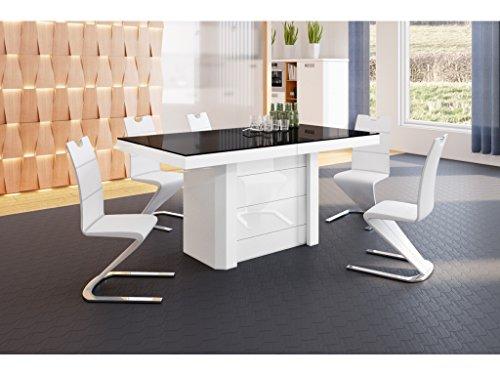 H MEUBLE Table A Manger Design Extensible (160 ÷ 223 ÷ 349 ÷ 412) CM X P : 100 CM X H: 75 CM - Noir