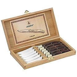 LAGUIOLE - Box 6 Tafelmesser - Palisandergriff - Edelstahl - Box-Tafelmesser für alle Anlässe - Besteck für Mittag- oder Abendessen - -