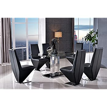 Roma Designer Glass Dining Table U0026 4 Rita Black Chairs