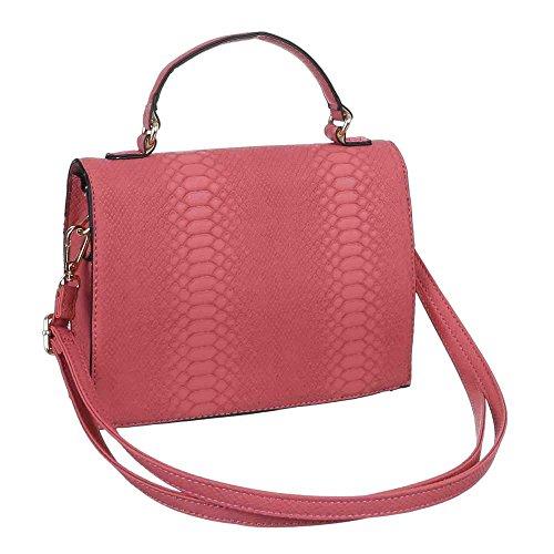 Damen Tasche, Kleine Handtasche, Kunstleder, TA-X319 Rosa Rot