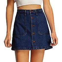 2c50e6e861c0 Denim Rock,URSING Frauen Cowboy Jeansskirt Jeansrock Minirock Jeans  Einreiher Mini Denim Rock Knielang Sommer