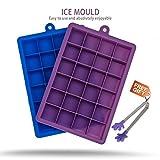 Silikon Eiswürfelbehälter, Set von 2, 24 Würfel Jede,mit einem Mini Zangen (Lila&Blau)