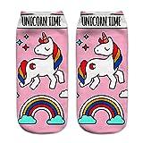 HENGSONG Women Girls Cute Unicorn Pattern Socks Sports Stocking (Pink)