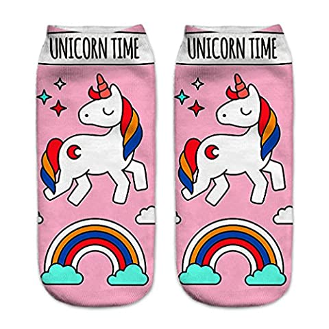 HENGSONG Women Girls Cute Unicorn Pattern Socks Sports Stocking (Pink)