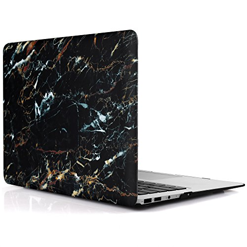 iDOO MacBook Schutzhülle / Hard Case Cover Laptop Hülle [Für MacBook Air 13 Zoll: A1369/A1466] - matt, Schwarzer Marmor (mit gold-blauer Maserung) (Macbook Air Case Blau)