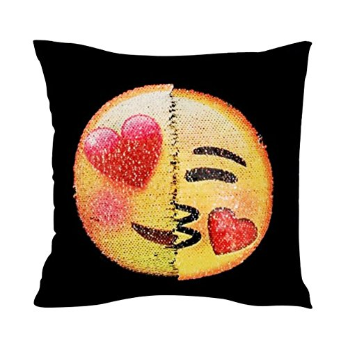 ten Emoji-Face Überwurf Kissenbezug, wendbar Mermaid Pailletten Kissen wechselnde Farbe Emoji-Kissen Dekokissen Kissenbezug Kissen für Sofa Home Decor DIY B (Diy Halloween-yard-dekorationen)