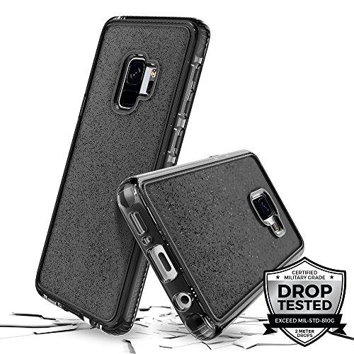 Prodigee [Superstar for Samsung Galaxy S9 case, Grau schwarz Clear klar transparent 2 Meter Militär Drop Test Zertifiziert Schutz dünn Hülle Stück dünner dünn funkeln glänzen Glitzern Flakes