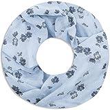 Faera Damen Schal Flowers weich und leicht mit Blumen-Druck Loopschal Rundschal in verschiedenen Farben, SCHAL Farbe:Hellblau