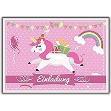 Einhorn 12er Set Unicorn Einladungskarten Kindergeburtstag Einladung Girls  Mädchen Kinder Rosa Geburtstag Lustig Witzig Ausgefallen