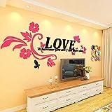 Gleecare Wandaufkleber Blume-Rattan-3D Acryl Stereo-Wand-Sticker warm TV Sofa Schlafzimmer dekorative Wand