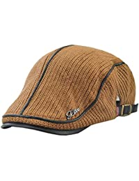 vpuquuz Men s Cotton Newsboy Cap Flat Cap Winter Thick Warm Knit Wool Hunting  Hat Visors Scally eec60e990db9