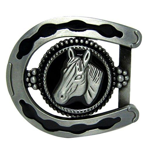 Prettyia Amante De Animales De época Caballo Rodeo para Hombre Egraving Cowboy Cinturón Hebilla Oval - Patrón Caballo 8.0x7.1cm