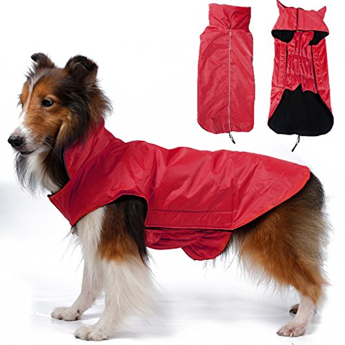 Imported Waterproof Pet Dog Waistcoat Jacket Fleece Lined Raincoat Clothes M Red