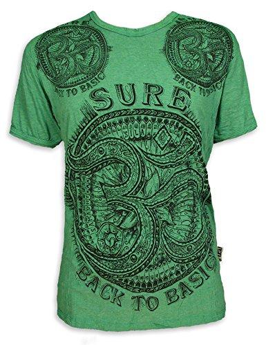 SURE Herren T-Shirt Om Aom Symbol Heiliges Buddhismus Hinduismus Yoga Zeichen (Grün L)