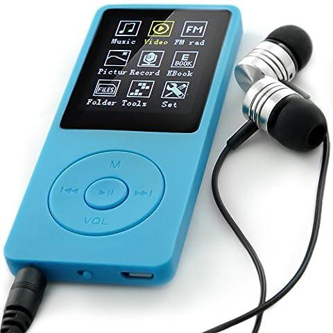 Lecteur MP3 NEVEQ NEO BLEU 8 Go de mémoire lecteur de musique portable, Radio FM et un enregistreur vocal (fonction Dictaphone) MP3 Player