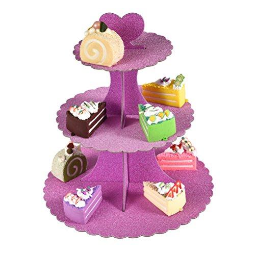 Znvmi 3-Tier Kuchenständer Abnehmbarer Pappe Kuchen Stehen Cupcakes Desserts Rundturm Party Serviertablett für Hochzeit Taufe Dekoration - Glitzer Rosa