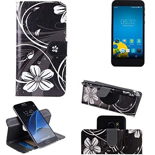 K-S-Trade® Schutzhülle Für Vestel 5000 Dual-SIM Hülle 360° Wallet Case Schutz Hülle ''Flowers'' Smartphone Flip Cover Flipstyle Tasche Handyhülle Schwarz-weiß 1x