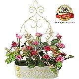 rerxn Europea Pastoral flores artificiales en hierro cesta de rosa de seda con colgante accesorio de interior al aire libre casa decoración de la boda