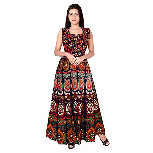 Silver Organisation Women\'s Long Dress Jaipuri Fashion Print Cotton (MultiCour, up to XXL)