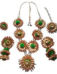 Floret Jewelry Designer Flower Gota Patti Jewelry Set With Maang Tika, Ring And Earrings For Women & Girls (Mehandi...