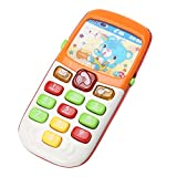 FomCcu Learning Toy Cell Phone for Kids Baby Children Educational Gift with Lighting Voice Music Batteries-Operated
