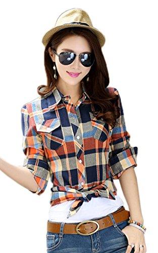 Smile YKK Chemisier Femme Manche Longue Blouse Coton Col Chemise T-shirt à Carreaux Automne Bleu Jaune