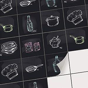 creatisto Fliesen renovieren Fliesensticker Fliesenfolie für Küchen Wandfliesen I Dekorsticker für Küchenfliesen zur Küchengestaltung ohne Fliesenlack I 10x10 cm - Motiv Kochspaß - 9 Stück