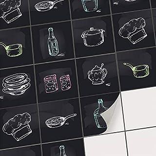 Sticker carrelage Cuisine adhesif - Adhésive décorative à Carreaux/Stickers muraux Carreaux Credence Cuisine/Autocollants Peinture carrelage/Design Cuisine - 10x10 cm - 9 pièces