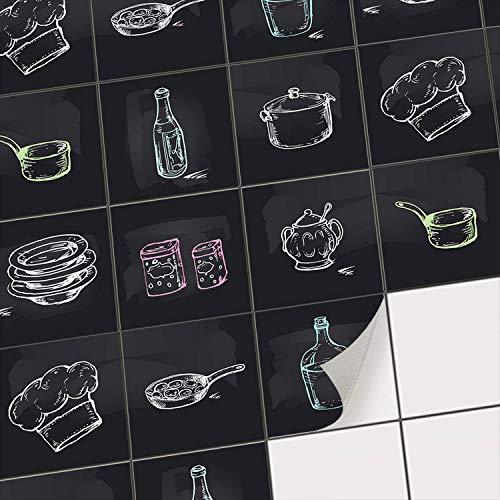 Sticker carrelage Cuisine adhesif - Adhésive décorative à Carreaux | Stickers muraux Carreaux Credence Cuisine | Autocollants Peinture carrelage | Design Cuisine - 10x10 cm - 9 pièces
