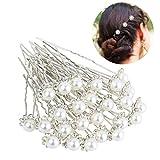 Haarschmuck Brautschmuck Haarnadeln - 40pcs Art und Weise Retro Elegante Damen Perlenrhinestone Haarclip Hochzeit Brautschmuck Braut Haar Zubehör (ColorH)