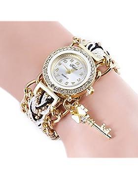SSITG Frauen Geflochtenes Kette Schlüssel Anhänger Strass Dial Armband Armbanduhr Damenuhr Watch Geschenk Gift