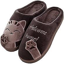 f12b0cd94 Cliont Zapatillas de Gato Lindo Zapatillas de Invierno de Interior Zapatos  Antideslizantes Mujeres y Hombres