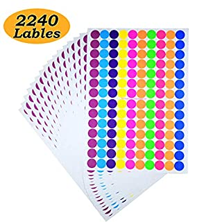 2240 Sticky Coloured Dots 19mm Round Colour Coding Labels Circle Dot Stickers,Fits Any Printer(A4 16 Sheet)