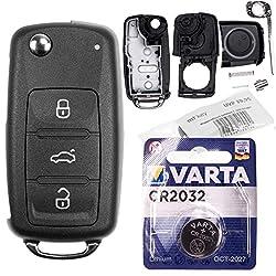 Repair Reparatur Satz Auto Schlüssel Austausch Gehäuse mit 3 Tasten + Rohling + Batterie kompatibel mit VW Golf UP Polo T5 Caddy Tiguan Beetle EOS Jetta