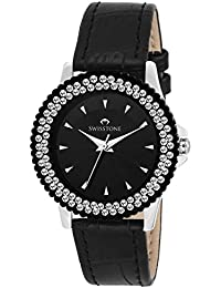 Swisstone VG515BK-BLACK Black Dial Black Leather Strap Analog Wrist Watch For Women/Girls