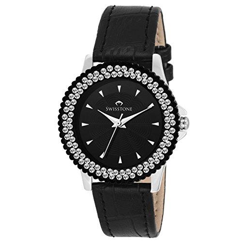 Swisstone VG515BK-BLACK Black Dial Black Leather Strap Analog Wrist Watch For Women/Girls