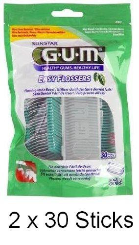 GUM Easy Flosser Zahnseide mit Halter 30 Stück, DOPPELPACK (2x 30 Stück)