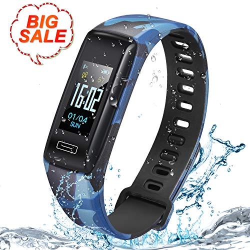 LUSCREAL Fitness Tracker,Tracker attività con cardiofrequenzimetro,IP67 Waterproof Smart Fitness Watch con pedometro,contacalorie, Sleep Monitor per Bambini Donne e Uomini,Telefono iOS Android (Blu)